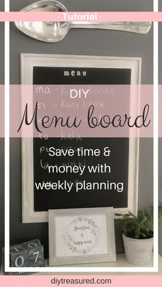 I love this menu board idea and the chalky look! Having a menu board for weekly meal planning has been super helpful! With my system I am organized feeding this family of five! I do the planning once a week and get the groceries with the menu list. No more daily stress about what to eat or running to get groceries in a hurry. Easy DIY! | diy | organized | frugal living | family life | home decor | kitchen decor | farmhouse look | ideas |
