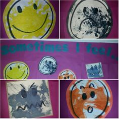 """Preschool Emotions theme: we associated a different color to different emotions. Drew simple faces and used different art tools to paint each face! Created """"Sometimes I feel..."""" board with final products!"""