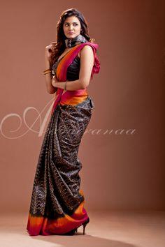 Hand block printed tussar silk saree ..!!!
