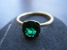 Engagement Ring, Green  Ring, Green zirconia ring,  Vintage Inspired, 18k Gold Ring, Statement Ring, Bridal Jewelry on Etsy, $400.00