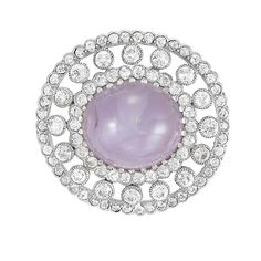 Belle Epoque Platinum, Gold, Violet Star Sapphire and Diamond Pendant-Brooch