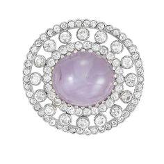 Belle Epoque Platinum, Gold, Violet Star Sapphire and Diamond Pendant-Brooch