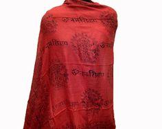 Prayer scarf/ Om scarf/ Shiva scarf/ cotton scarf/  alphabet scarf/ meditation scarf/ yoga scarf/ gift scarf / gift ideas.