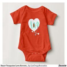 Heart Turquoise Love Arrows Baby Bodysuit