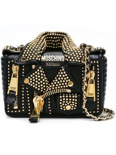 MOSCHINO Biker Shoulder Bag. #moschino #bags #shoulder bags #leather #