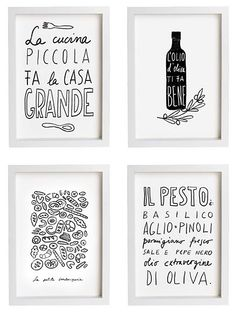 Hand-drawn posters for the kitchen