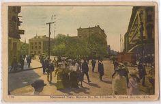 Monument Park, Fulton & DIvision, 1908 Monument Park, Grand Rapids Michigan, Great Lakes, Fulton, Old Photos, Division, Scene, History, Vintage