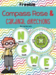 Compass Rose and Cardinal Directions  Just Print, Laminate and Hang in your classroom   You get:  Cut circle directions for  North  South  West   East  Compass Rose I hope these brighten up your classroom.  :)