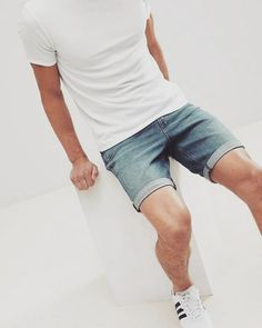 ASOS DESIGN denim shorts in slim mid wash with abrasions Denim Shorts Outfit Summer, Summer Outfits, Men Shorts, Outfits Hombre, Mens Fashion, Fashion Outfits, Gentleman Style, Short Outfits, Stylish Men