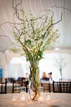 Some of the tables will feature tall cylinder vases filled with brown curly willow, peach stock flowers, and green maiden hair ferns with hanging silver mercury glass candles.