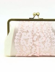 Macaron Clutch : Blush and Latte on Ivory {more colours}
