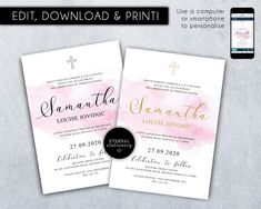 Editable Christening/Baptism Invitation, Baptism, Christening, Watercolour, Editable Template, Printable, Invitation, Baby Girl, Samantha Christening Invitations, First Event, Photo Center, Premium Fonts, Textured Background, Watercolour, Stationery, Printables, Templates