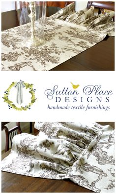 Brown Toile Ruffled Table Runner from Sutton Place Designs on Etsy.