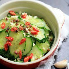 Simple Spicy Cucumber Salad with Garlic