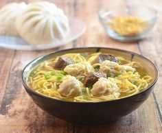 Made with tender beef, dumplings and fresh egg noodles in a delicious, flavor-packed broth, this beef wonton mami soup is comfort food at its best Filipino Recipes, Asian Recipes, Beef Recipes, Soup Recipes, Cooking Recipes, Ethnic Recipes, Filipino Food, Pinoy Food, Filipino Dishes