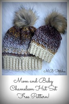 Mom and Baby Chameleon Hat - Free Pattern! #crochet #hat #gifts