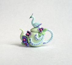 Miniature Elegant Peacock & Floral Teapot OOAK by C. Rohal
