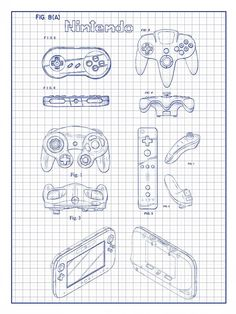 Nintendo controllers patent poster screen print decoration technical nintendo controllers malvernweather Gallery