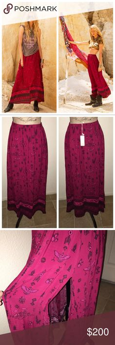 Spell & The Gypsy, Phoenix Maxi Skirt in Magenta NO TRADES   MAY CONSIDER REASONABLE OFFERS ONLY    Beautiful deep magenta maxi skirt by Spell and the Gypsy Collective.  It has a zipper on the side and it features elastic waist band in the back.  Slits up each leg.  Completely sold out on Spell and Gypsy website and it's very hard to find. Only worn once and it has a very minor rip on one of the slits *see pictures* It's barely visible and can be easily fixed. Spell & The Gypsy Collective…