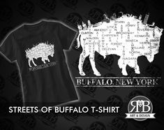 These streets are home to where Buffalonians Roam! Proudly show your love of the city of Buffalo, New York today!  Artwork by #RMBArtAndDesign #BuffaloNewYork #716 #citypride