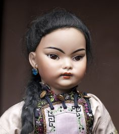 """19"""" Rare Extremely Attractive Asian Bisque Doll S for French market with French stamps on the lady type body"""