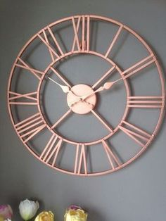 Silver Home Accessories Rose Gold - Copper Colour Metal Skeleton Wall Clock Roman Numerals 40 cm. Rose Gold Room Decor, Rose Gold Rooms, Rose Gold And Grey Bedroom, Living Room Ideas Rose Gold, Rose Gold Interior, White Bedroom, Copper Interior, Bedroom Ideas Rose Gold, Rose Bedroom