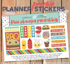 Free Printable BBQ Planner Stickers from Dorky Doodles