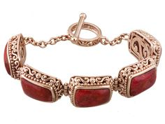Timna Jewelry Collection(Tm) Trapezoid Cabochon Red Sponge Coral Copper Bracelet