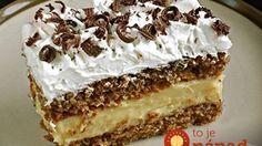 Zutaten Für den Teig: 80 g Zucker 100 g Nüsse, gemahlen 100 g Butterkekse oder Löffelbiskuits, zerbröselt 5 . Easy Cake Recipes, Sweet Recipes, Cookie Recipes, Dessert Recipes, Nut Recipes, Hungarian Desserts, Hungarian Recipes, Walnut Cake, Sweets Cake