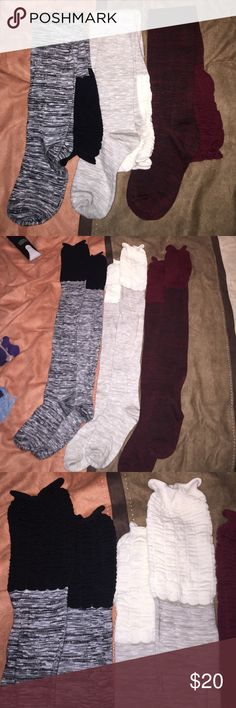 3 pairs of boot socks I have never worn them, they were a Christmas present and I don't own boots to wear them with. Can seperate if only wanting to purchase one or two pairs. (NWOT) Journey's Accessories Hosiery & Socks