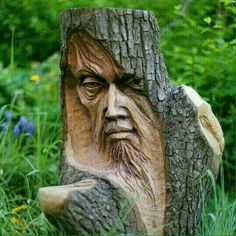 Sculture in legno Wood carvings Wood Carving Faces, Wood Carving Patterns, Tree Carving, Wood Carving Art, Wood Carvings, Art Sculpture En Bois, Driftwood Sculpture, Wooden Sculptures, Tree People