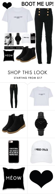 """BOOT ME UP"" by kaylawq ❤ liked on Polyvore featuring Balmain, WithChic, CLUSE, Casetify and Nasaseasons"