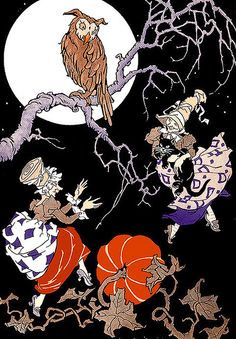 Two Dancing Witches and Their Owl--Vintage Halloween IIlustration!