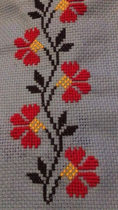 Cross Stitch Boarders, Embroidery, Floral, Straight Stitch, Embroidered Towels, Dish Towels, Cross Stitch Embroidery, Dishes, Craft