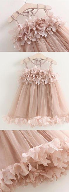 Flower Girl Dresses, A Line dresses, Open Back Dresses, Champagne Flower Girl Dresses, Open-back Flower Girl Dresses, Flower Flower Girl Dresses, Round Flower Girl Dresses, A-line/Princess Flower Girl Dresses