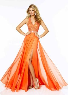 2015 Long Mango Lace Beaded Straps V-neck Side Slit Prom Dress