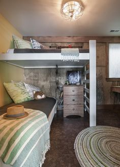 """The bunk area is one of Design Coordinator Laurie March's favorite spaces. """"We designed it so that teenage or adult guests could also feel comfortable in it, in case the winner had a bunch of pals over. I wish I could have napped in that bottom bunk!"""""""
