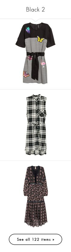 """""""Black 2"""" by lizf99 ❤ liked on Polyvore featuring dresses, woven dress, applique dress, short sleeve dress, checkered dress, one sleeve short dresses, h&m, long sleeve lace up dress, long sleeve v neck dress and long sleeve chiffon dress"""