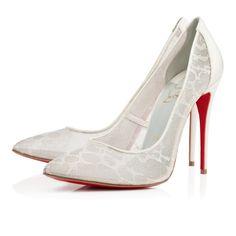 Chaussure Louboutin Pas Cher Pompe Pigalace Dentelle Nuage 100mm Blanc cassé0 #shoes