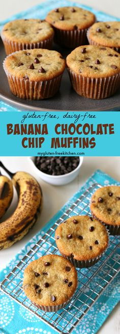 Gluten-free Dairy-free Banana Chocolate Chip Muffins Recipe. Yummy for breakfast on the go!