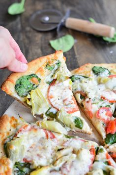 Artichoke, Tomato, and Spinach Pizza | Garnish & Glaze