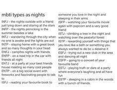 MBTI Types as Nights. (I'm not sure why someone would even think to make this correlation, but the descriptions seem pretty accurate.)