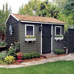Shed Building Made Easy Shed Landscaping, Backyard Sheds, Outdoor Sheds, Painted Garden Sheds, Painted Shed, Garden Shed Exterior Ideas, Garden Ideas, Garden Art, Garden Log Cabins