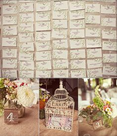Details from my wedding: DIY escort cards, birdcage card holder and handmade table numbers