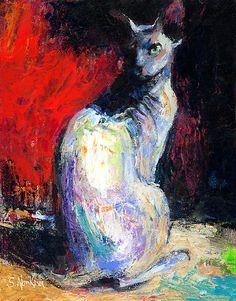 Sphynx Cat painting by Svetlana Novikana