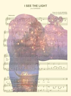 Tangled Rapunzel Sheet Music Art Print