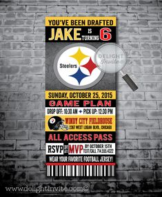 Pittsburg Steelers Football Birthday Party Invitations [DI-336] : Custom Invitations and Announcements for all Occasions, by Delight Invite