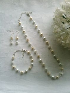 Bridesmaids Jewelry Set Cream & White Pearl by InfinityByClaire, £12.00