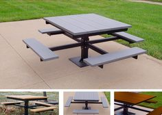 Square Picnic Pedestal Table - Noah's Park & Playgrounds offers budget friendly park tables! Check out our ADA options!