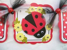 Ladybug banner red black and white with by NancysBannerBoutique, $30.00
